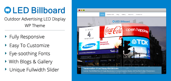 led billboard outdoor advertising led display wordpress theme