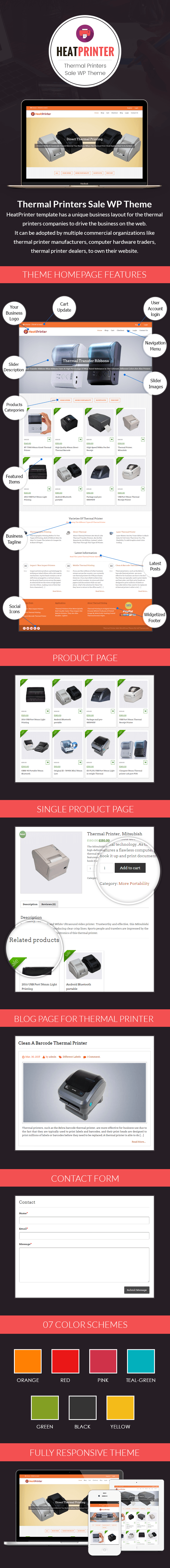 Thermal Printers Sale WordPress Theme Sales Page Image