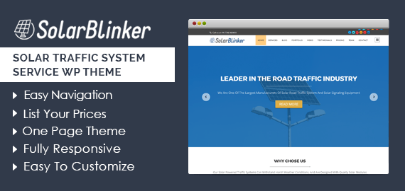 Solar Traffic System Service WordPress Theme