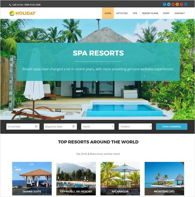 Summer Resort Online Booking WordPress Theme