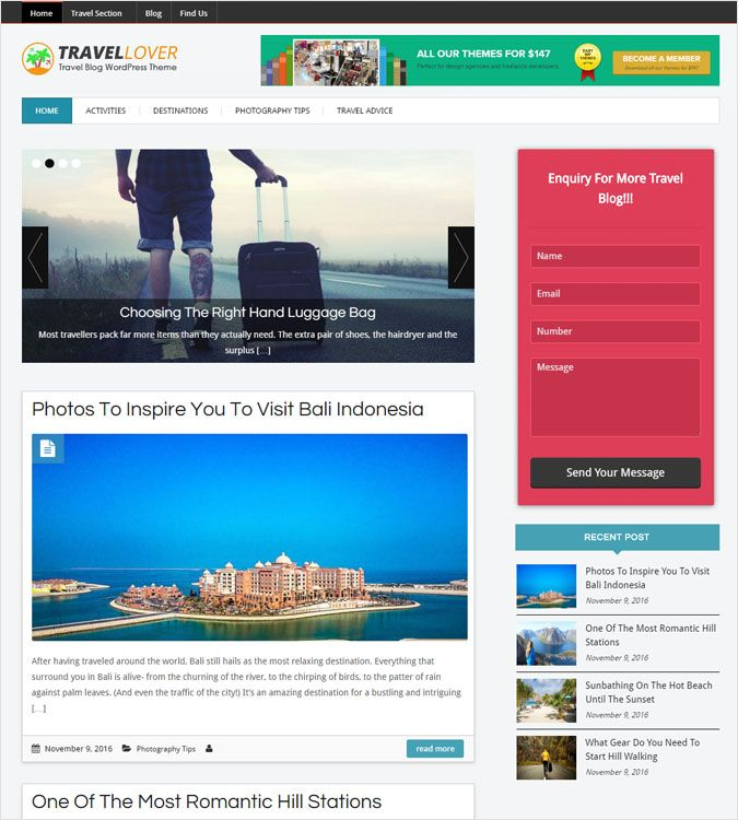 TravelLover WP theme