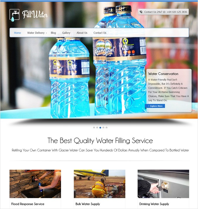 Water Filling Service WordPress Theme