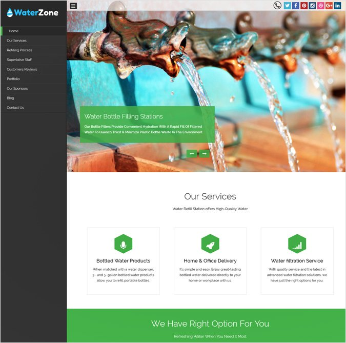Water Refill Station WordPress Theme