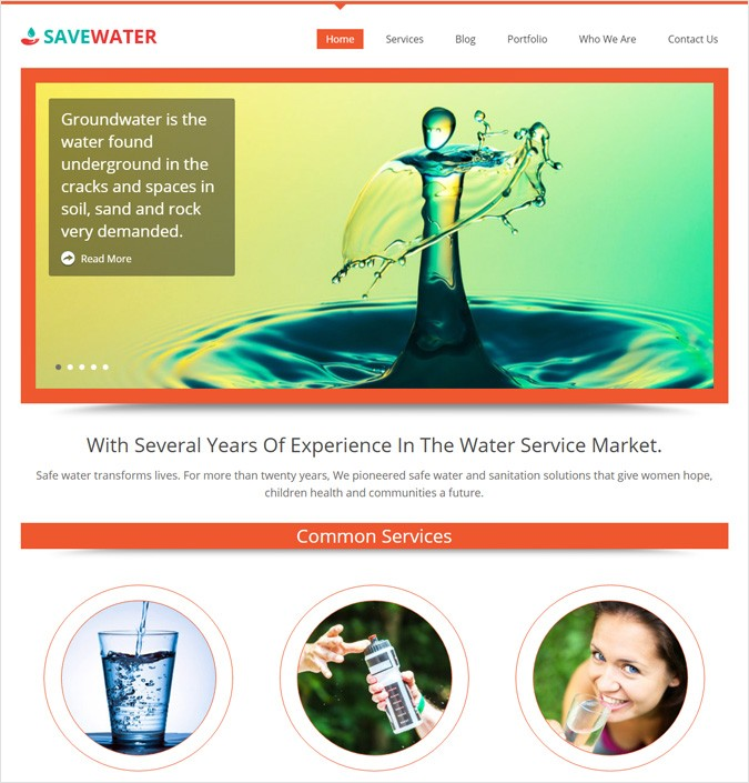 Water Service WordPress Theme