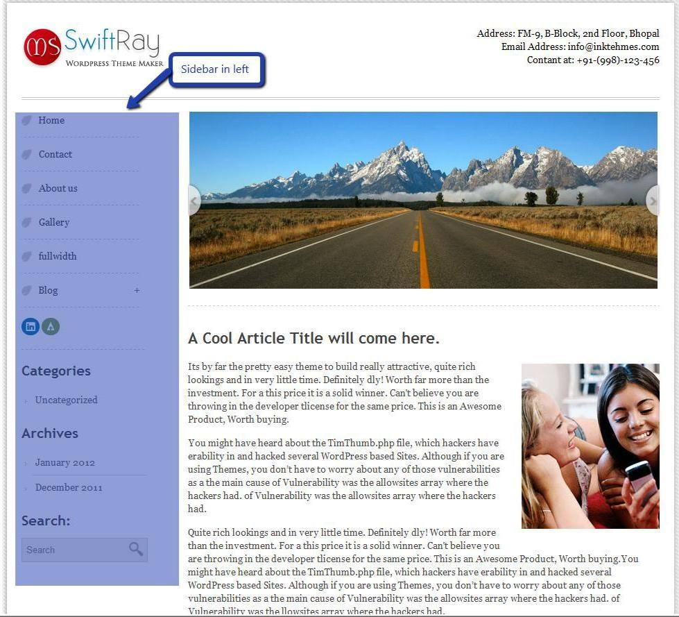 SwiftRay WordPress Theme Documentation