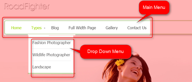 Fronpage Menu & drop down