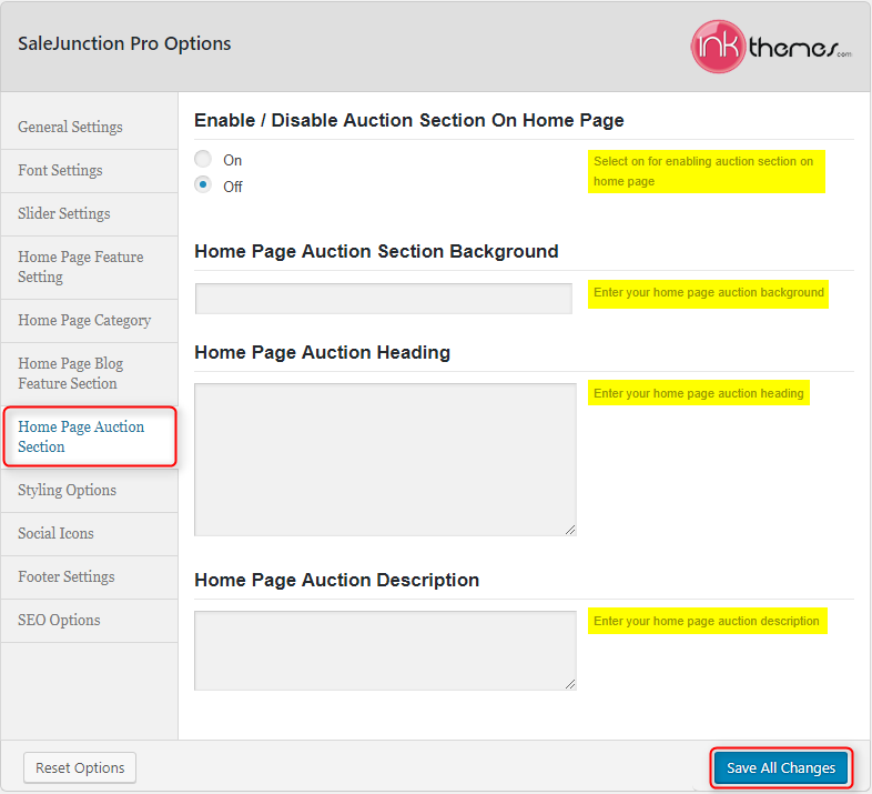 Home Page Auction Setting