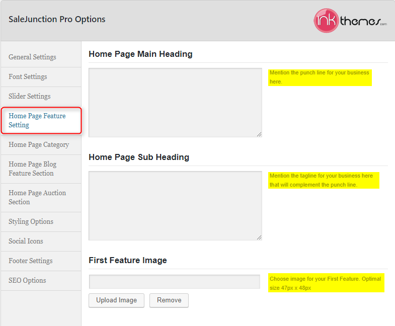 Home Page Feature Setting