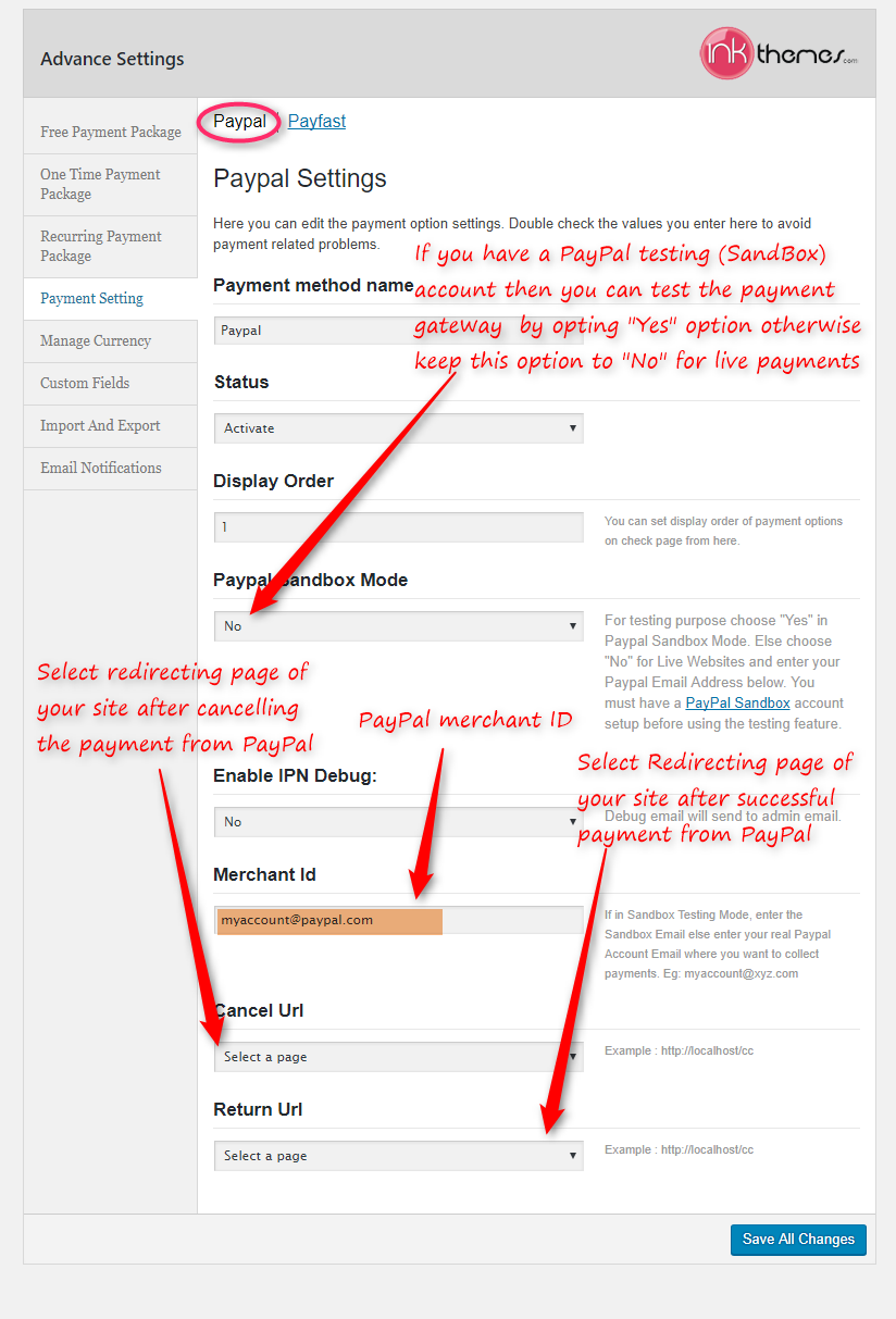 How to set up PayPal Payment Gateway