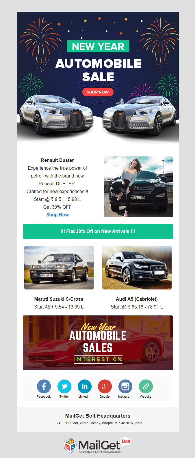 Automobile New Year email templates