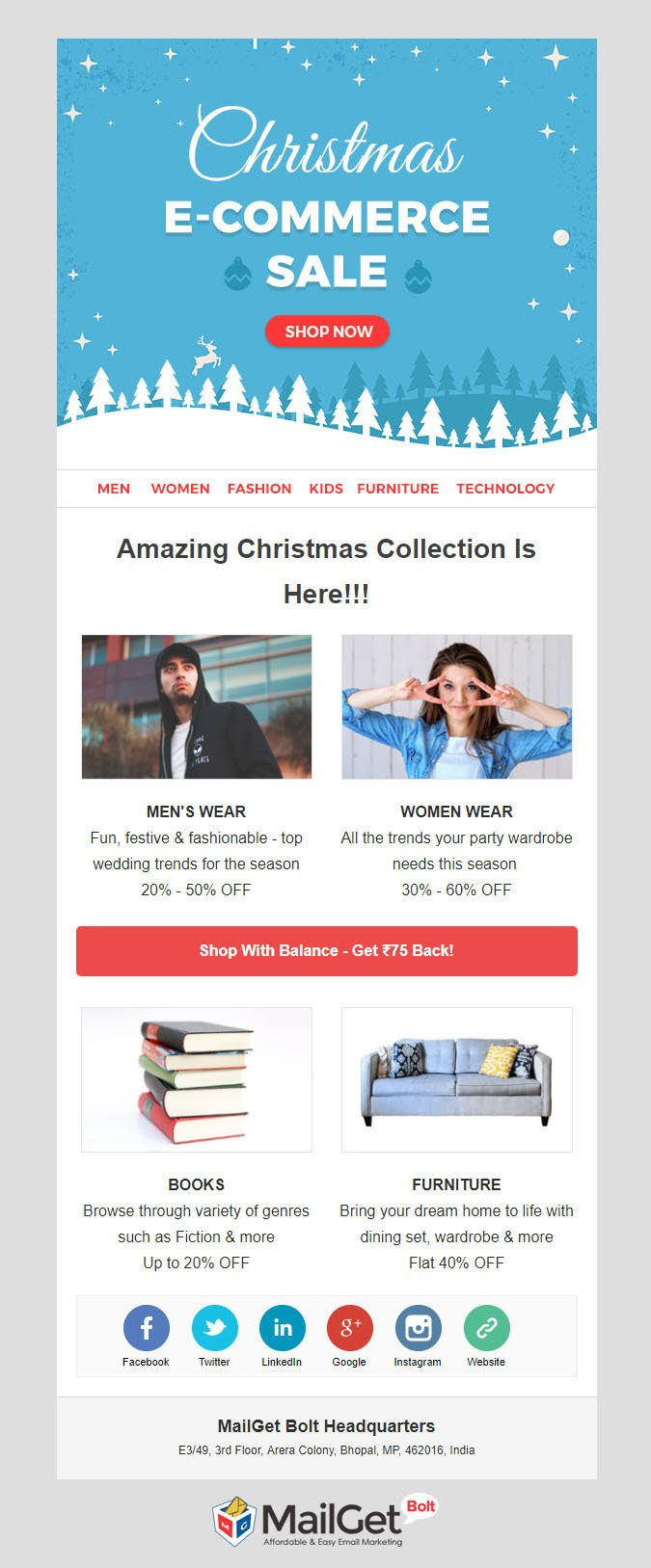 Ecommerce Christmas Email Templates