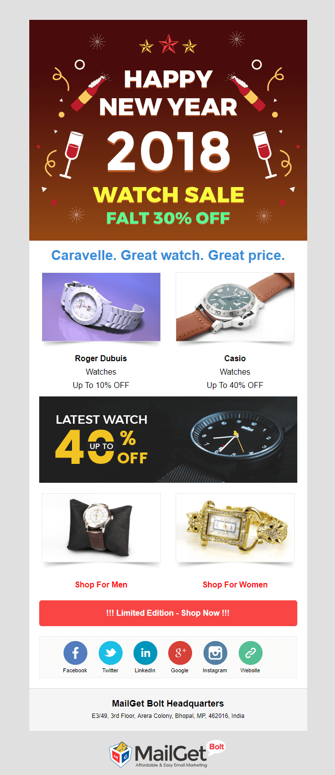 SmartWatch New Year email templates