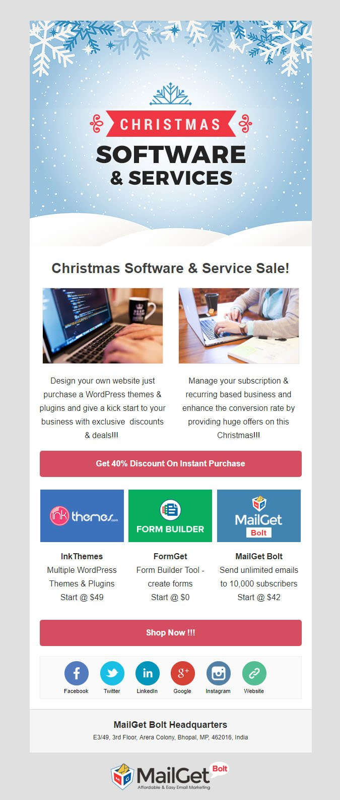 Software & Services Christmas Email Templates