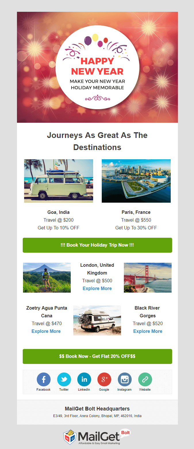 tour & travel New Year email templates