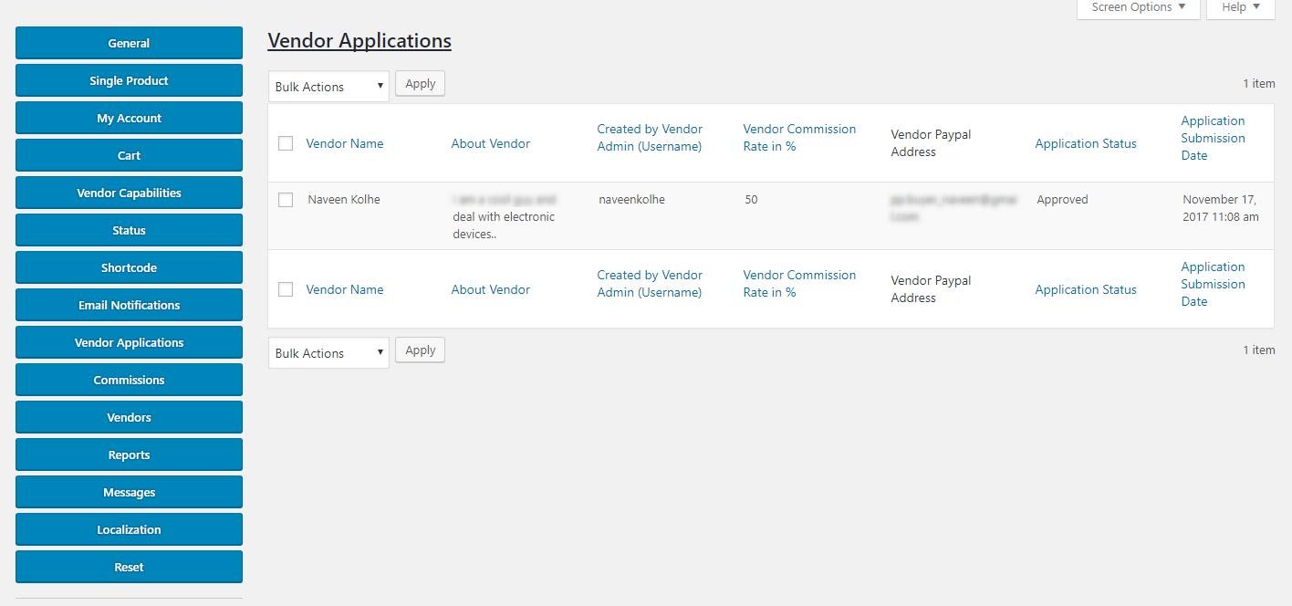 Vendor Applications