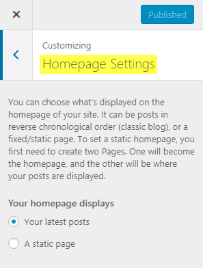 Membro Customizer_Homepage Settings