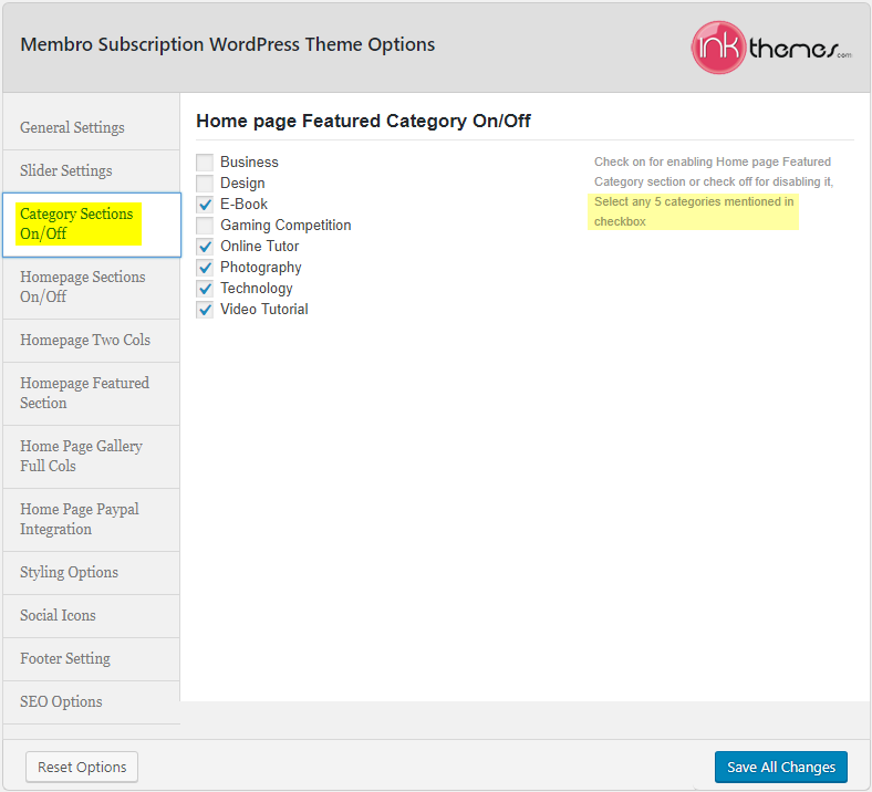 Membro_Theme Options_Category Sections On-Off