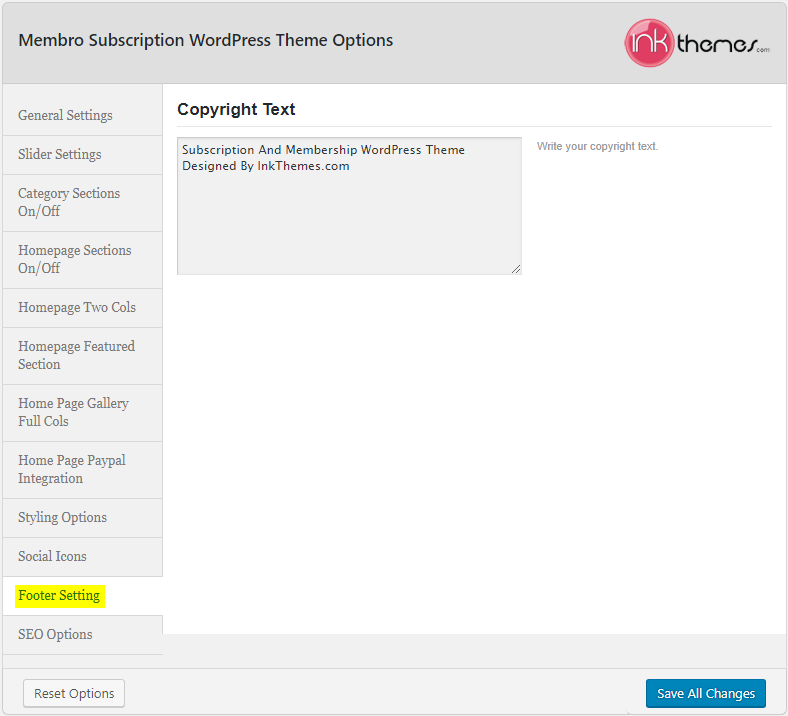 Membro_Theme Options_Footer Settings