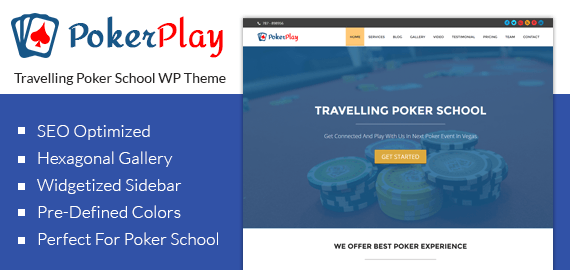 Travelling Poker School WordPress Theme Slider