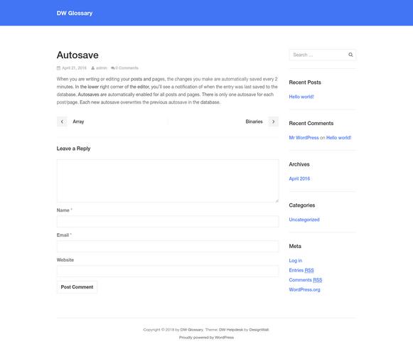 Autosave - DW Glossary WordPress Plugin