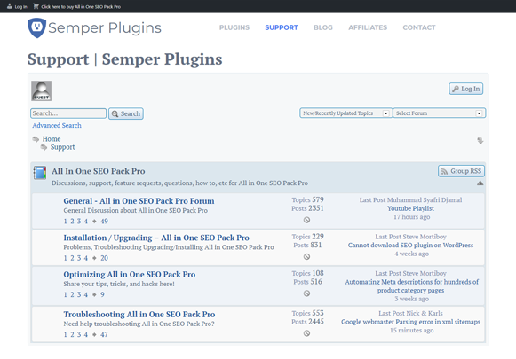 Support - All In One SEO Pro Version Plugin
