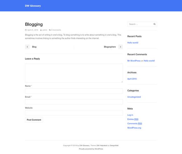 Blogging - DW Glossary WordPress Plugin