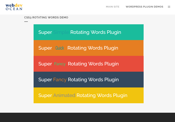 CSS3 Rotating Words Demo - Image Hover Effects Plugin