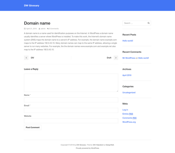 Domain Name - DW Glossary WordPress Plugin