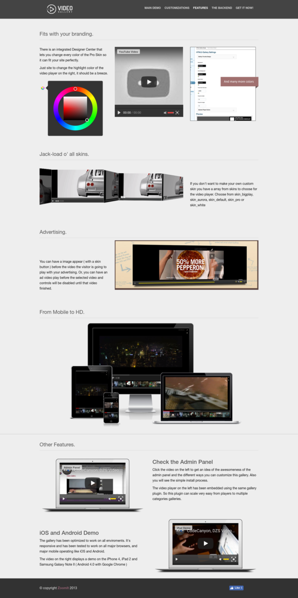 Features - Video Gallery WordPress Plugin