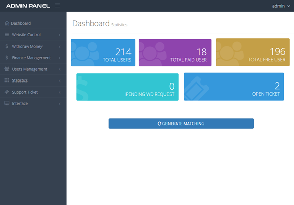 Admin Dashboard Preview