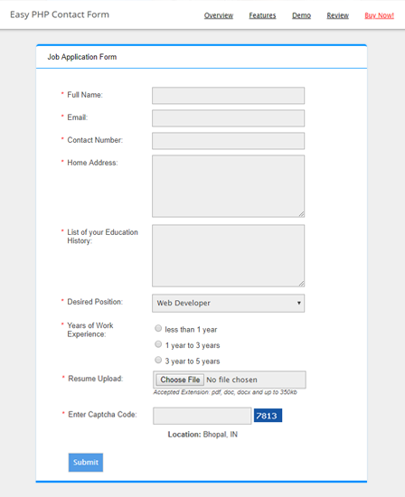 Contact Form PHP Script