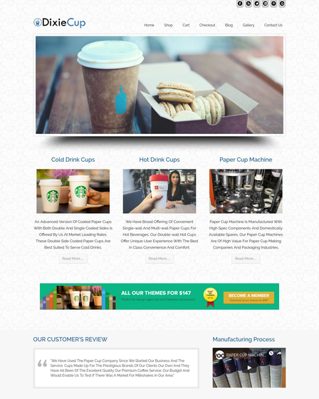 Paper Cup Manufacturing Service WordPress Theme | InkThemes