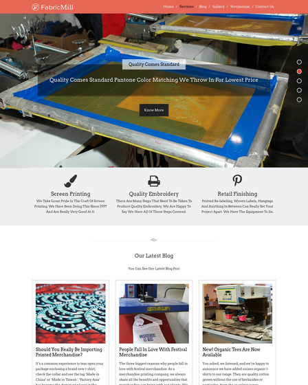 Cloth Printing Company WordPress Theme & Template | InkThemes