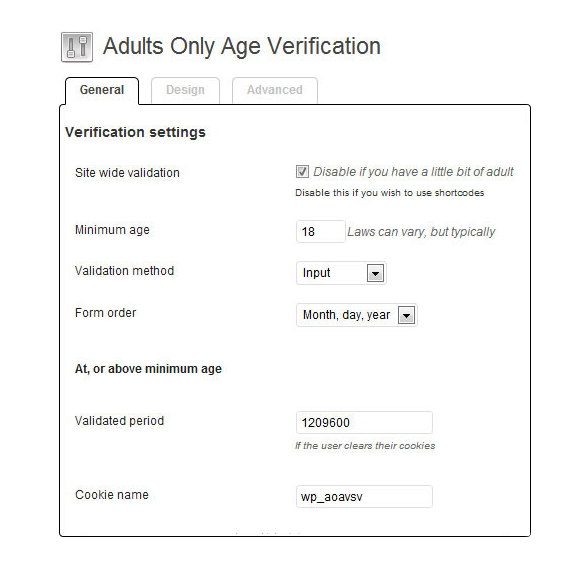 Verification Settings - Adults Only Age Verification Plugin