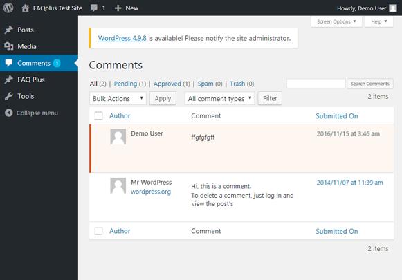 Dashboard Comments - FAQPlus WordPress FAQ Plugin
