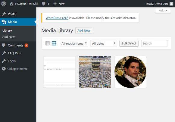 Dashboard Media Library - FAQPlus WordPress FAQ Plugin