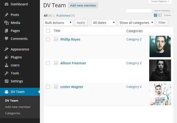 Dashboard - DV Team Showcase WordPress Plugin