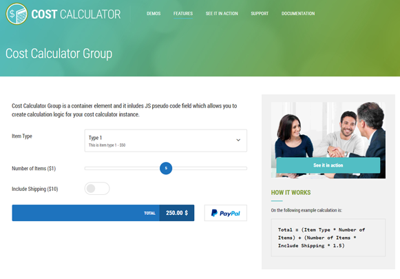 Cost Calculator Group - Cost Calculator WordPress Plugin