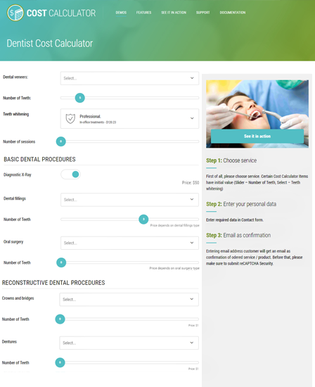 Dentist Cost Calculator - Cost Calculator WordPress Plugin