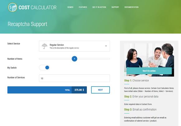 Recaptcha Support - Cost Calculator WordPress Plugin