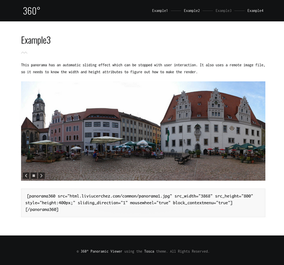 Panorama Image Example 3 - Panoramic Image Viewer Plugin