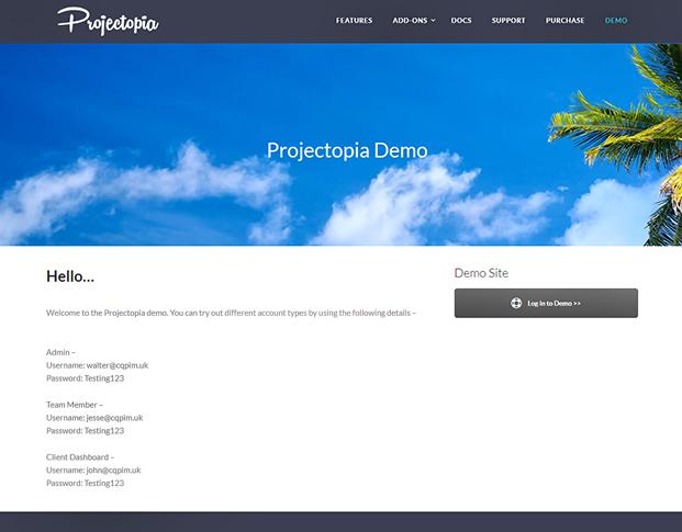 Projectopia WordPress Plugin - DEMO