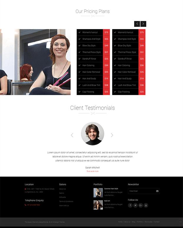Pricing Plan - WordPress Theme For Hair Salon