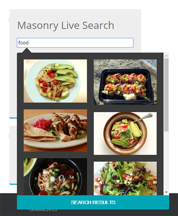 Masonry Live Search