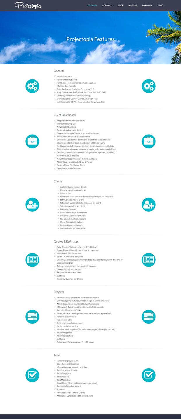 Projectopia WordPress Plugin - FEATURES