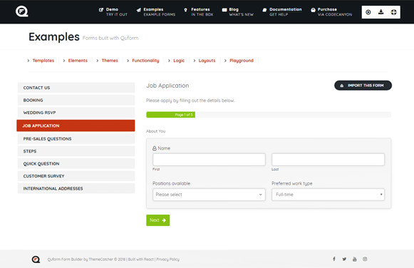 Job Application - Quform WordPress Form Plugin