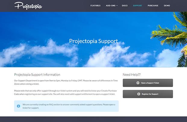 Projectopia WordPress Plugin - SUPPORT