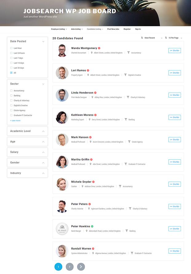Candidate Listing - JobSearch WordPress Plugin