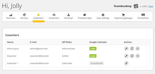 Coworkers - Team Booking WordPress Plugin