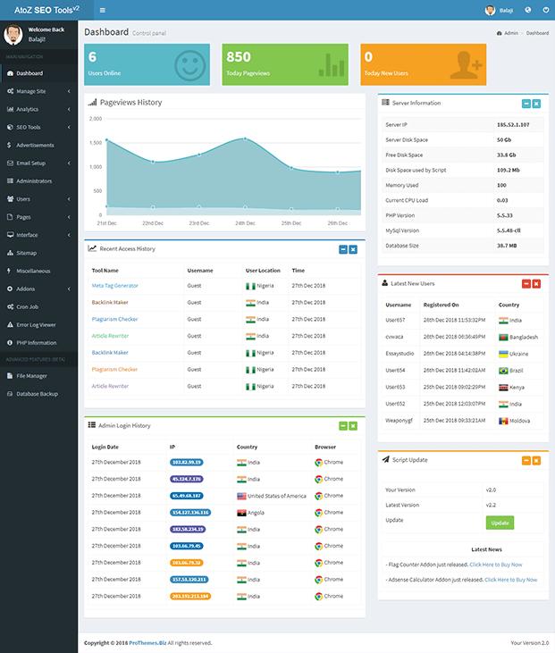 AtoZ SEO Tools - Advanced SEO PHP Script